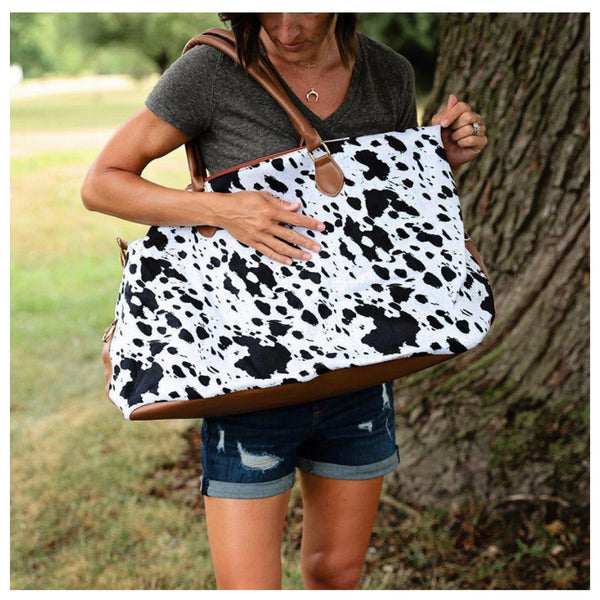 Every Girls Must! Black White Cow Print Weekender Bag