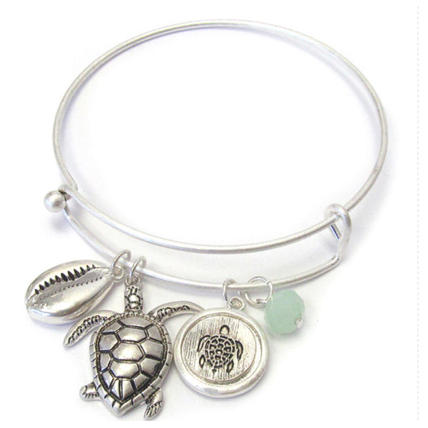 Turtle Charm Silver Wire Bangle Bracelet
