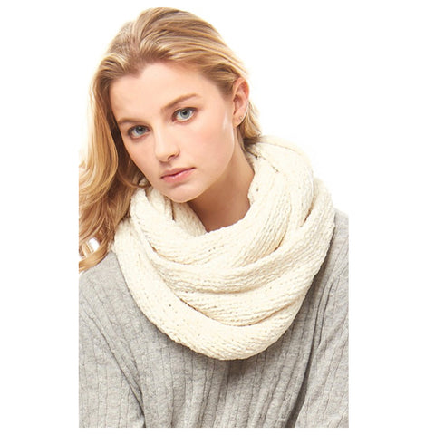 Silky Soft Ivory Chenille Infinity Scarf