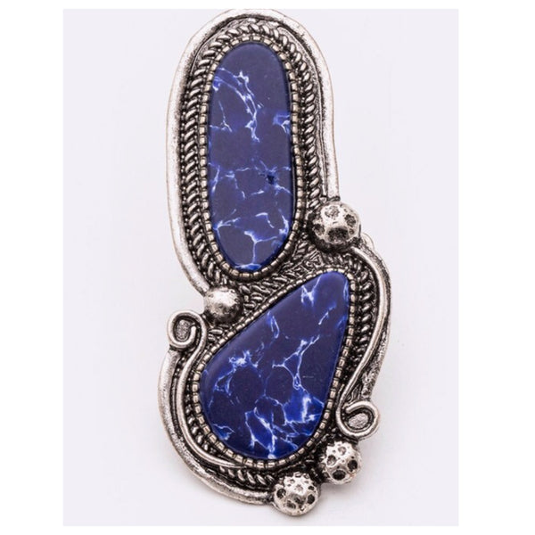 Mixed Shape Blue Stone Stretch Ring