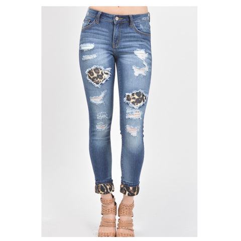 SANTAS LITTLE HELPER SPECIAL! Mid Rise Destroyed Leopard Patch Denim KANCAN Jeans