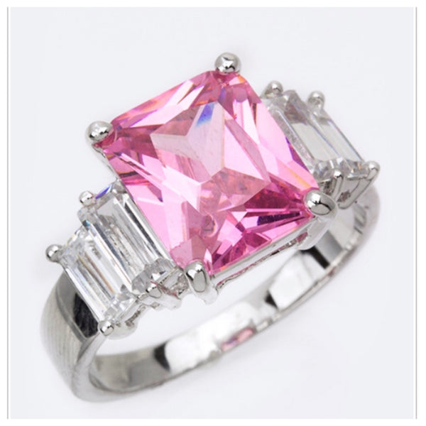 Stunning Pink CZ Engagement Ring