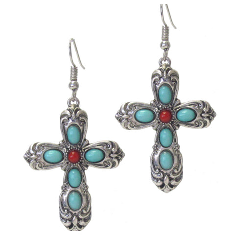 Sale! Antique Silver Turquoise Cross Earrings