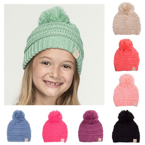 Youth Single Pom Thick Knit CC Beanie