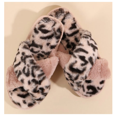 Pamper Your Feet, Faux Fur Pink Leopard Slippers