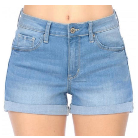 Classic High Rise Light Denim Shorts