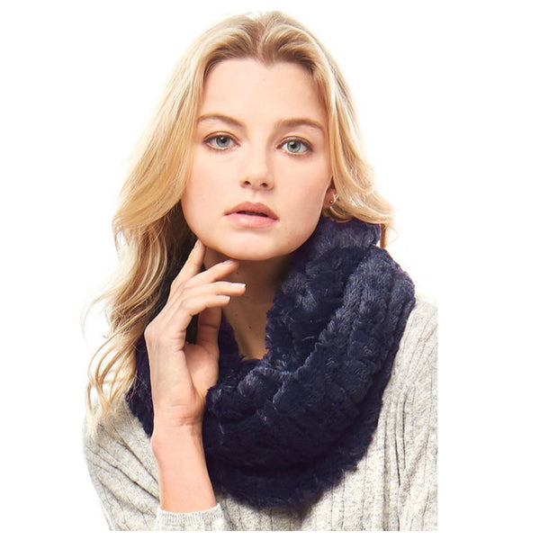 Silky Fluffy Soft Navy Faux Fur Infinity Scarf