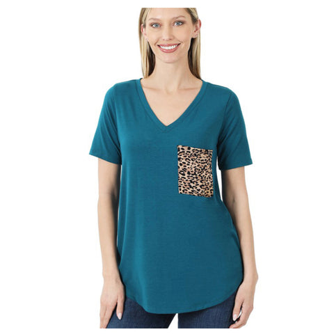 Adorable V Neck Leopard Pocket Top - Teal