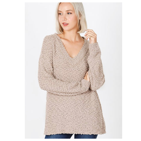 Casually Classy Ash Mocha V Neck Popcorn Sweater