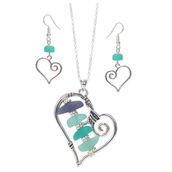 Beautiful Sea-Glass Open Heart Charm Necklace Set