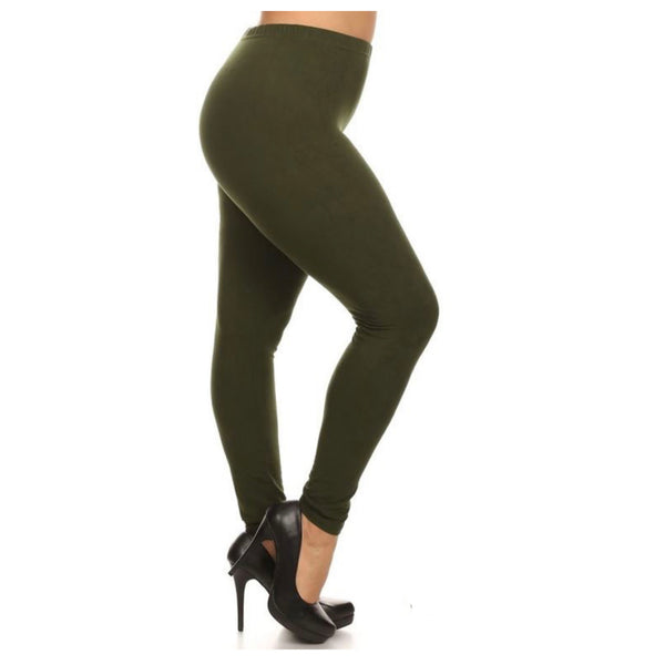 No Peek-a-Boo See Through PLUS Size Olive Leggings