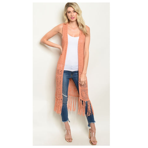 Sassy Me, Fringe Trim Embroider Sleeveless Peach Kimono
