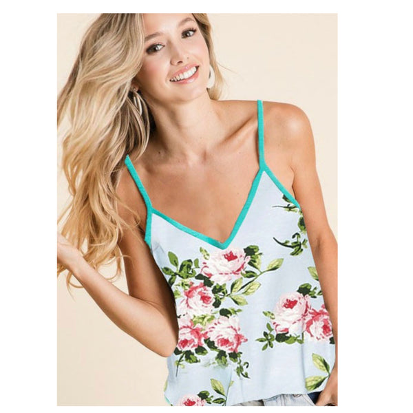 CLOSEOUT Crazy Sale! Adorable Floral Print Mint Sleeveless Top