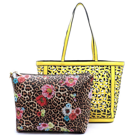 2 in 1:  Laser Cut Out Yellow Leather Shopper and Leopard Cross Body Bag