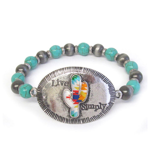 Western-Cactus LIVE SIMPLY Engraved Stretch Bracelet