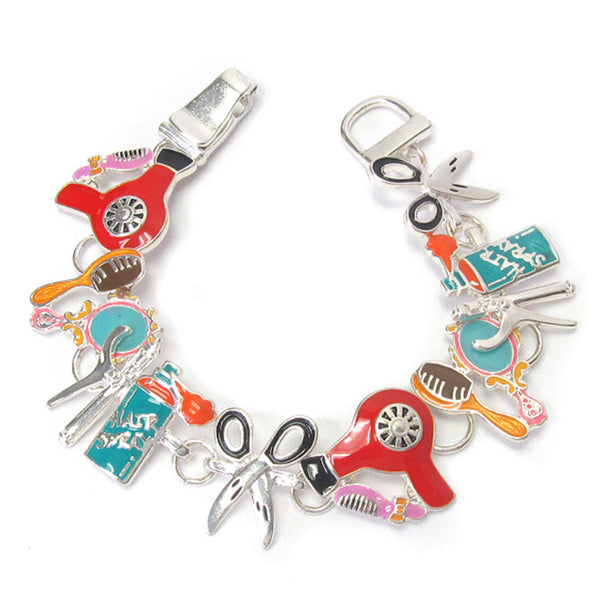 Adorable Hair Stylist Silver Link Bracelet