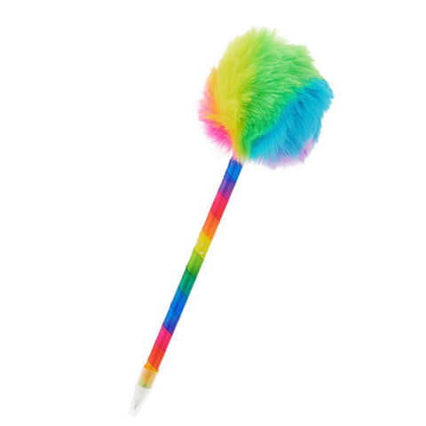 Adorable Puffy Puff Ball Top Rainbow Pen