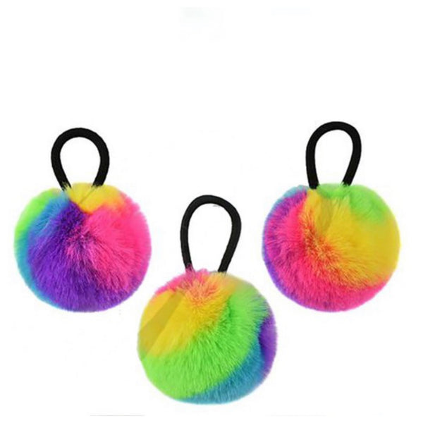Adorable Girls Ponytail Puff Poms - Set of 3