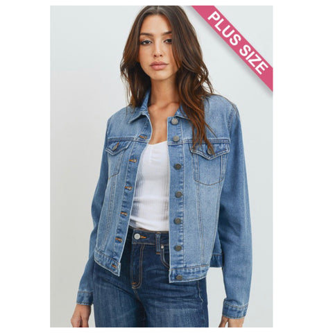Always a Must! Classic Blue Denim Jacket-Plus Size