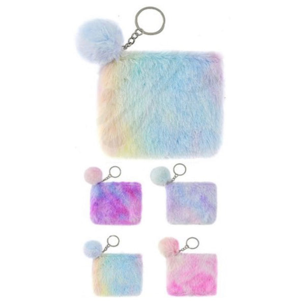 Adorable Colorful Tie Dye Fur Coin Pouch
