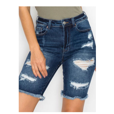 Crazy Cozy Dark Blue Denim Destroyed Bermuda Shorts