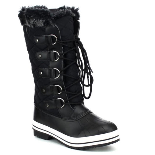 Sale! Snow Day, All Day Fur Lined Guilted Black Snow Boots