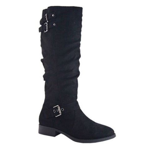 Buckle Detail Tall Black Suede Riding Boots