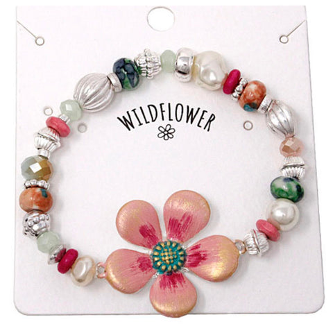 Marbled Bead Mix Pink Wildflower Bracelet