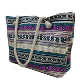 Boho Tribal Mix Print Violet Tote Bag, Purse