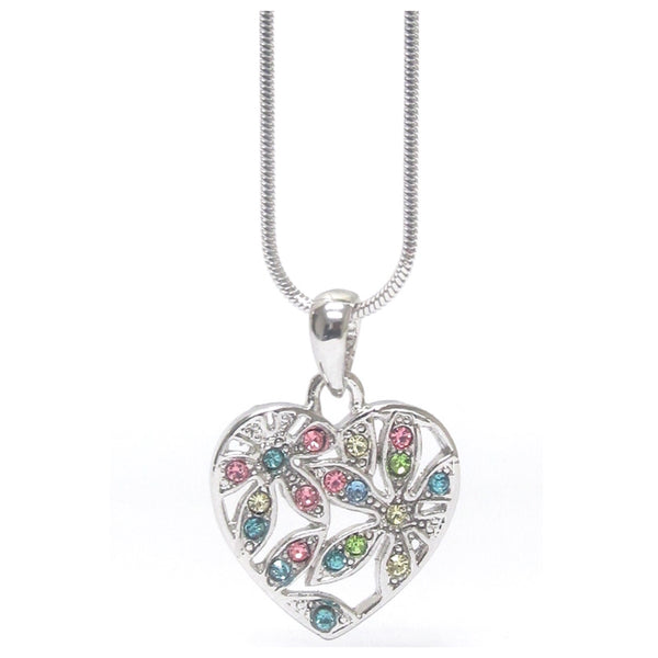 Stunning Pastel CZ Accented Heart Charm White Gold Necklace