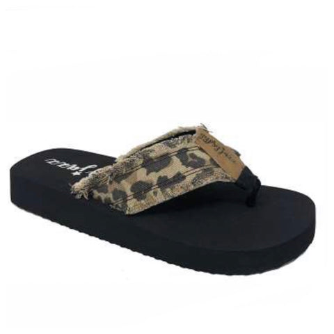 Gypsy Jazz Tan Leopard Frayed Edge Flip Flop, Sandals