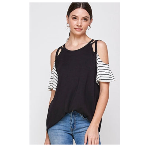 Adorable Criss Cross Cold Shoulder Black Top