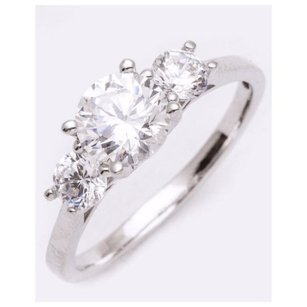 Elegant CZ Crown Setting Engagement Ring