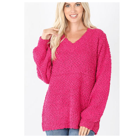 Cozy Balloon Sleeve V Neck Hot Pink Popcorn Sweater