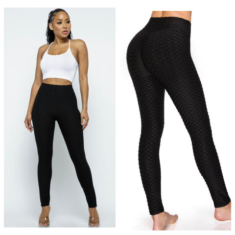 "Bootylicious ""Tik Tok"" Honeycomb Black Yoga Leggings"