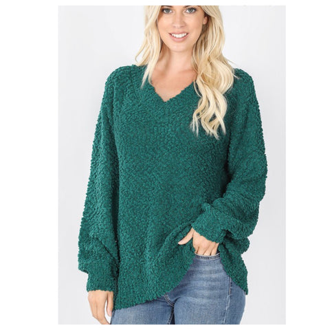 Cozy Balloon Sleeve V Neck Hunter Green Popcorn Sweater