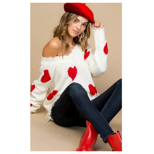 Special Sale! Frayed Hem Ivory Heart Sweater