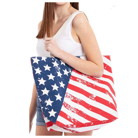 American Pride-American Flag Canvas Shopper Bag