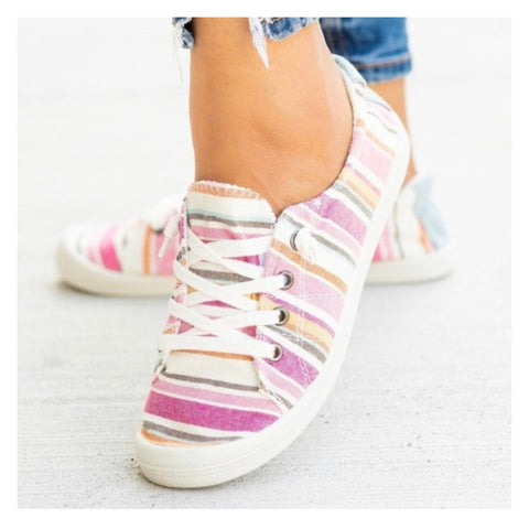BLACK FRIDAY SPECIAL! Crazy Cute Lace Up Pink Striped Sneakers