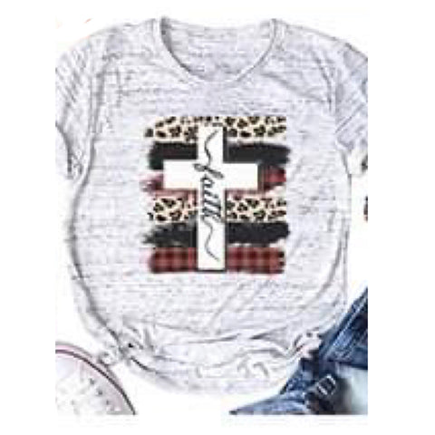 Adorable Leopard, Buffalo Plaid FAITH Cross Lt Grey Pepper Top