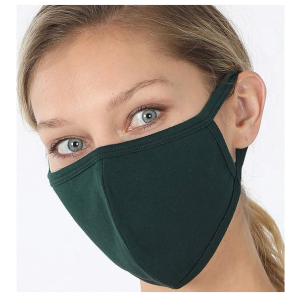 Keeping it in Style! Solid Hunter Green Face Mask with Filter Pocket