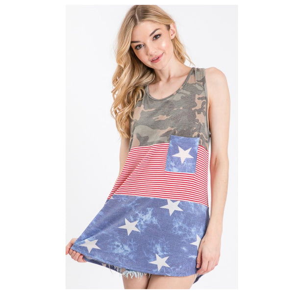 CLOSEOUT Insane SALE! Hello BEAUTIFUL! Colorblock Camouflage Stars and Stripes Sleeveless Top
