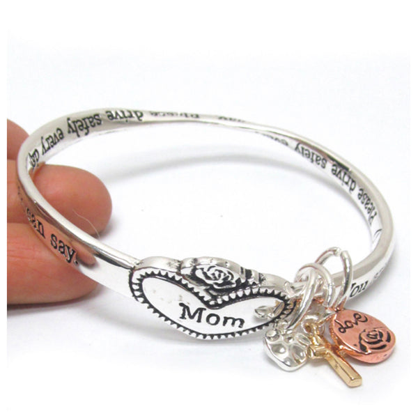 Silver Twist Engraved MOM Bangle Charm Bracelet