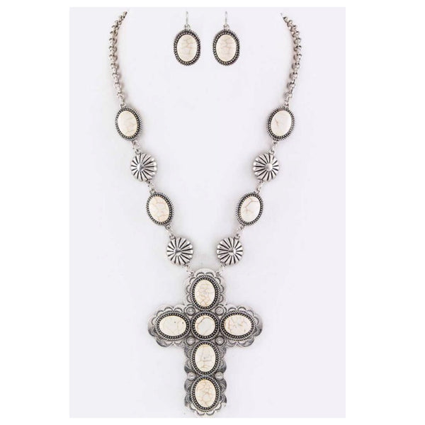 Iconic Ivory Stone Cross and Concho Necklace Set