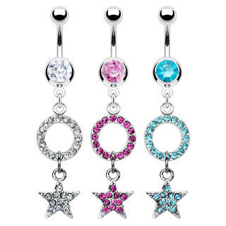 Belly Ring-Crystal Star - Cheryl's Galore and More