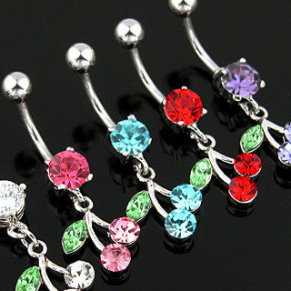 Belly Ring-CZ Cherry - Cheryl's Galore and More