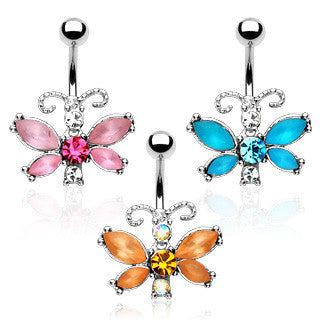 Belly Ring-Frosted Butterfly - Cheryl's Galore and More