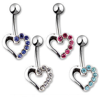 Belly Ring-Crystal Heart - Cheryl's Galore and More