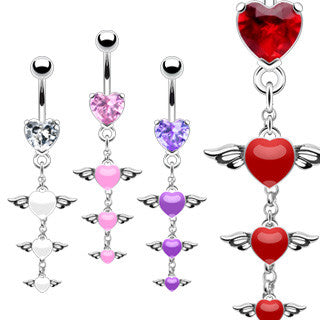 Belly Ring-Tier of Hearts - Cheryl's Galore and More