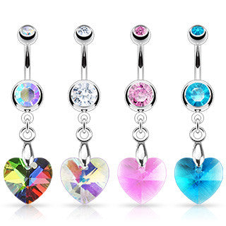 Belly Ring-Heart Ray Prism - Cheryl's Galore and More